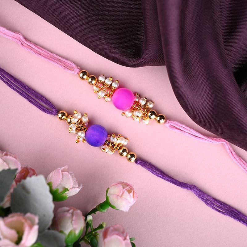 Send 2 Designer Rakhi With Floweraura Box Online