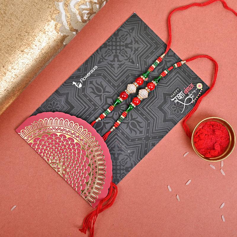 Online Set of 2 Designer Rakhi Delivery in India