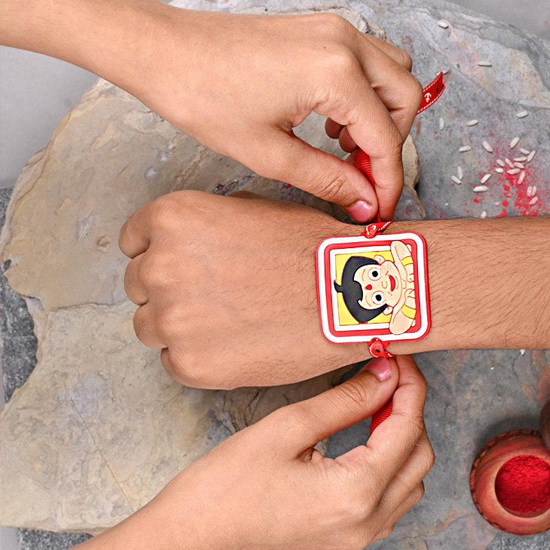 Chota Bheem Rakhi on Baby Hand