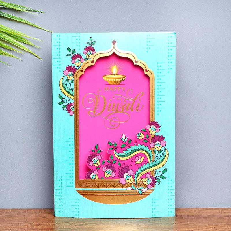 Vibrant Diwali Card - Diwali Greeting Card