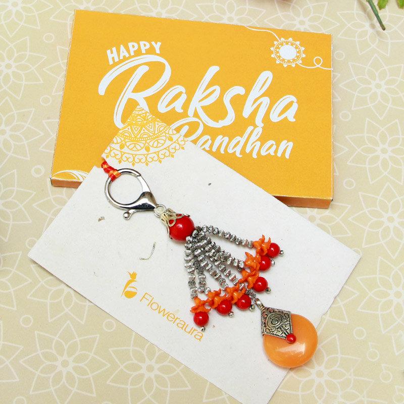 Vibrant Yellow Lumba Rakhi - Online Rakhi Gifts for Bhaiya Bhabhi