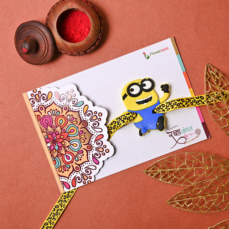 Minion Rakhi on Rakhi Card