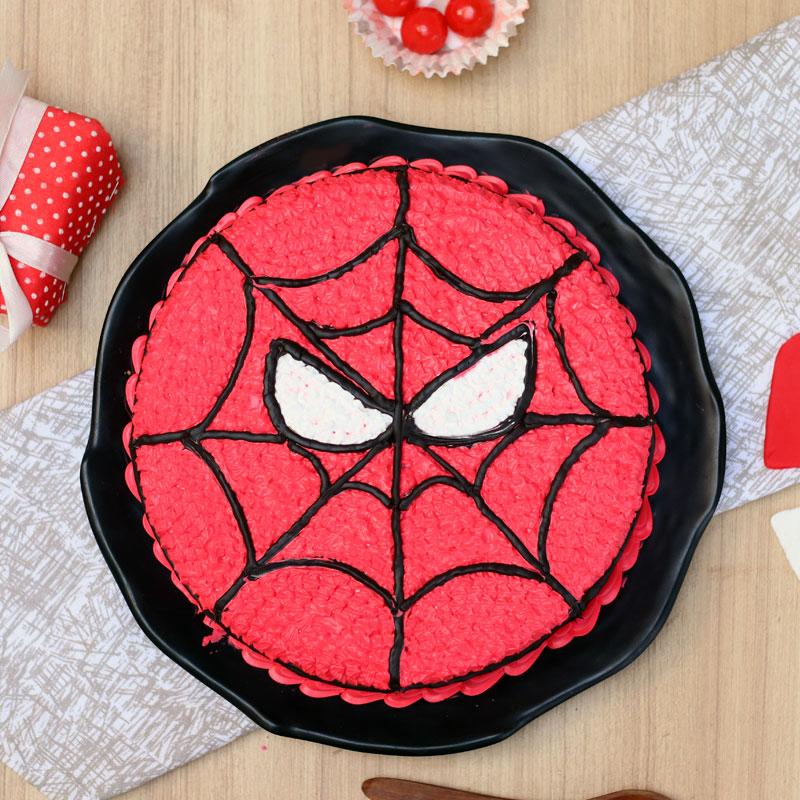 Top view of Spiderman Cartoon Birthday Cake