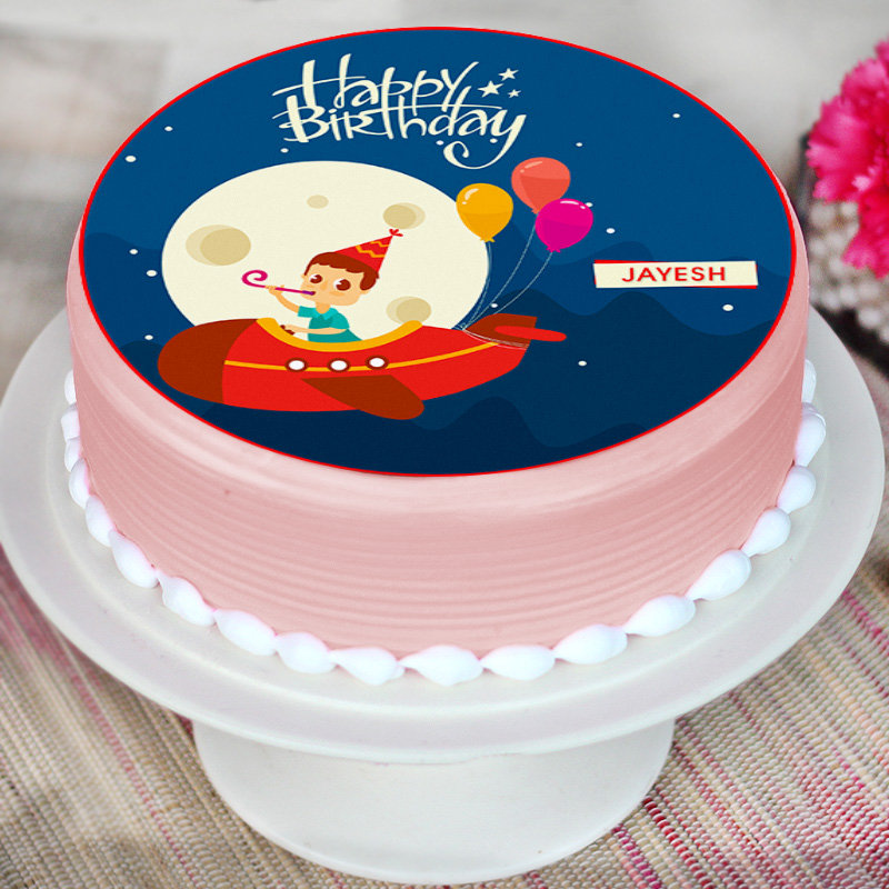 Round Cartoon Cake for Kids