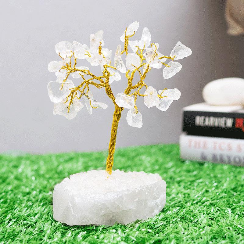 White Crystal Tree - White Small wooden wishing tree