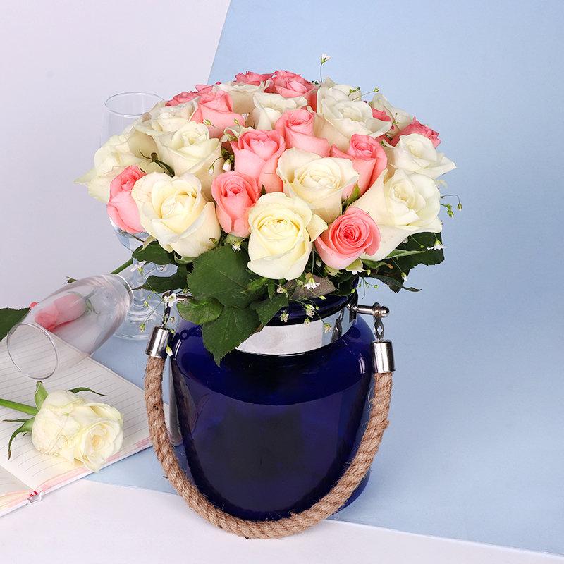 White N Pink Rose Vase