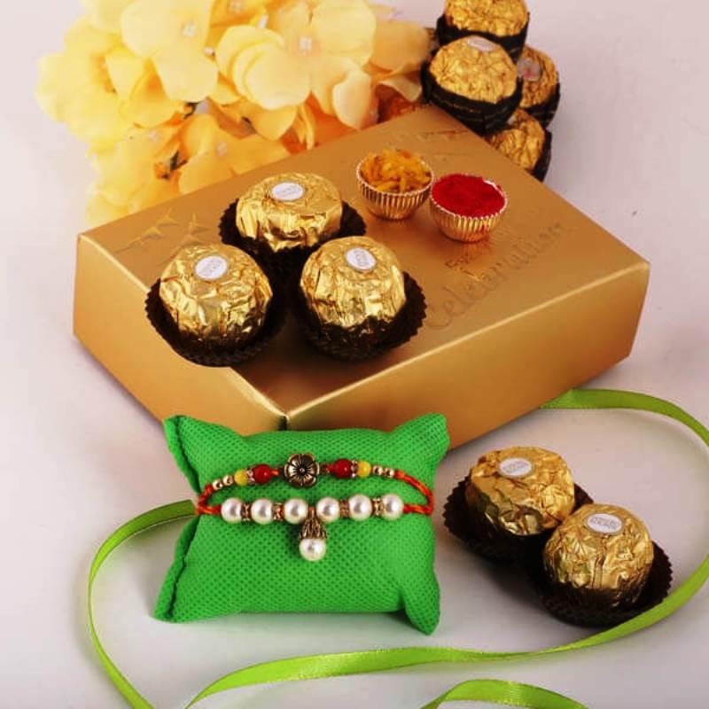 Wishful Traditional Rakhi Ferrero Combo