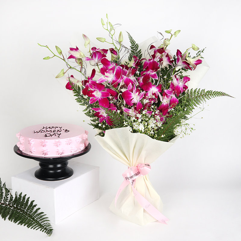 Women Day Cake Flower Combo: Bunch of 6 Purple Orchids in White Paper Packing