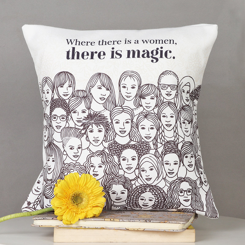 Women Magic Cushion - 12x12 Inches Printed Cushion