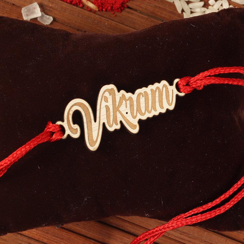Wood Custom Name Rakhi