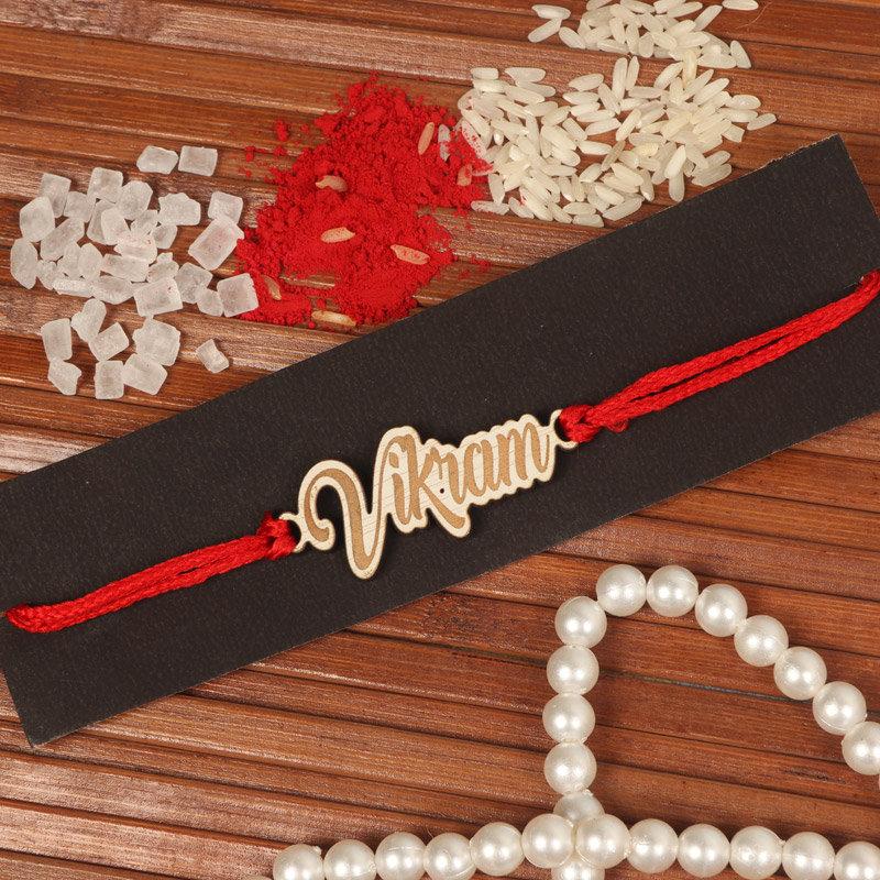 Rakhi Gifts for Brother Online - Wood Custom Name Rakhi