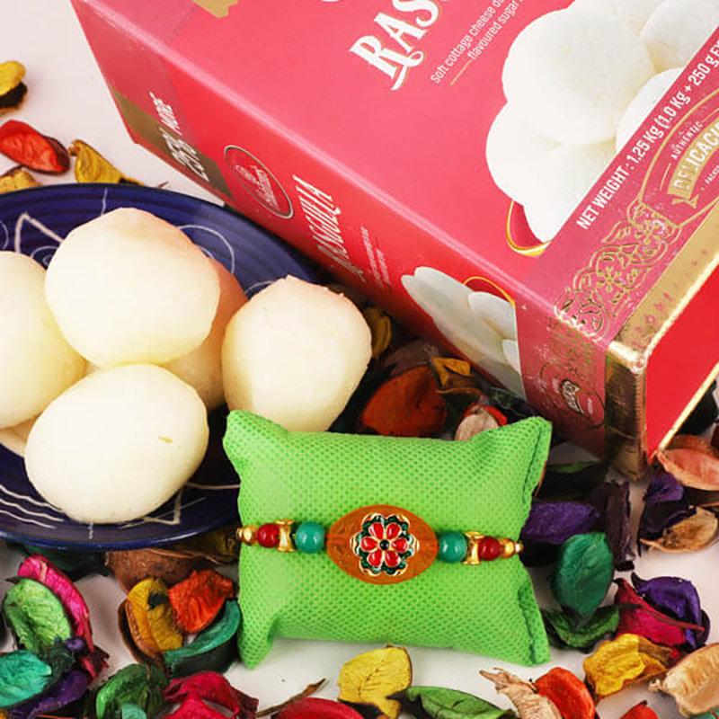 Wooden Rakhi N Sweets