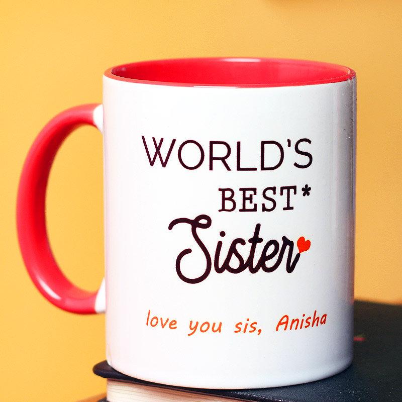 World Best Sister Message Mug - Rakhi Gifts for Sister Online
