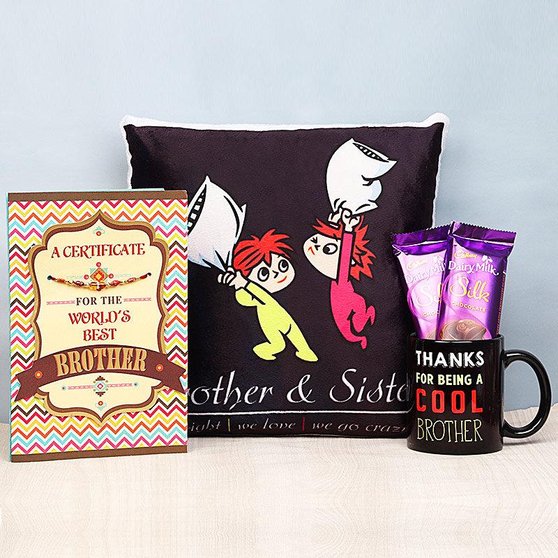 Rakhi and Card with Printed Cushion, Mug and Chocolates