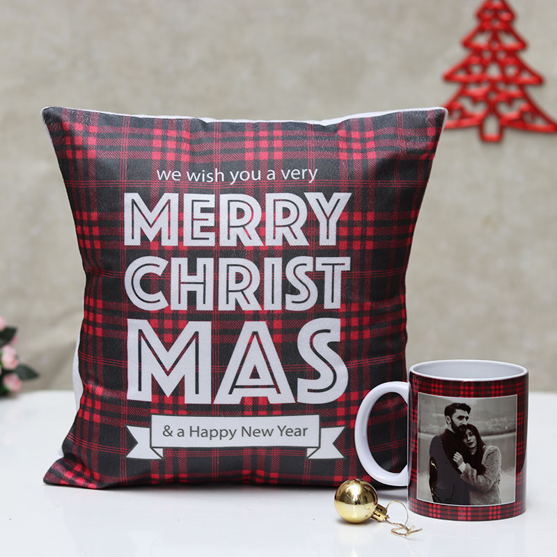 Christmas Gift Combo of Cushion and Customised Mug