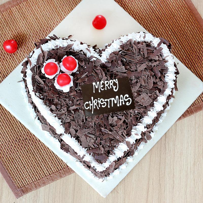 Heart Shape Cherry Cake for Christmas