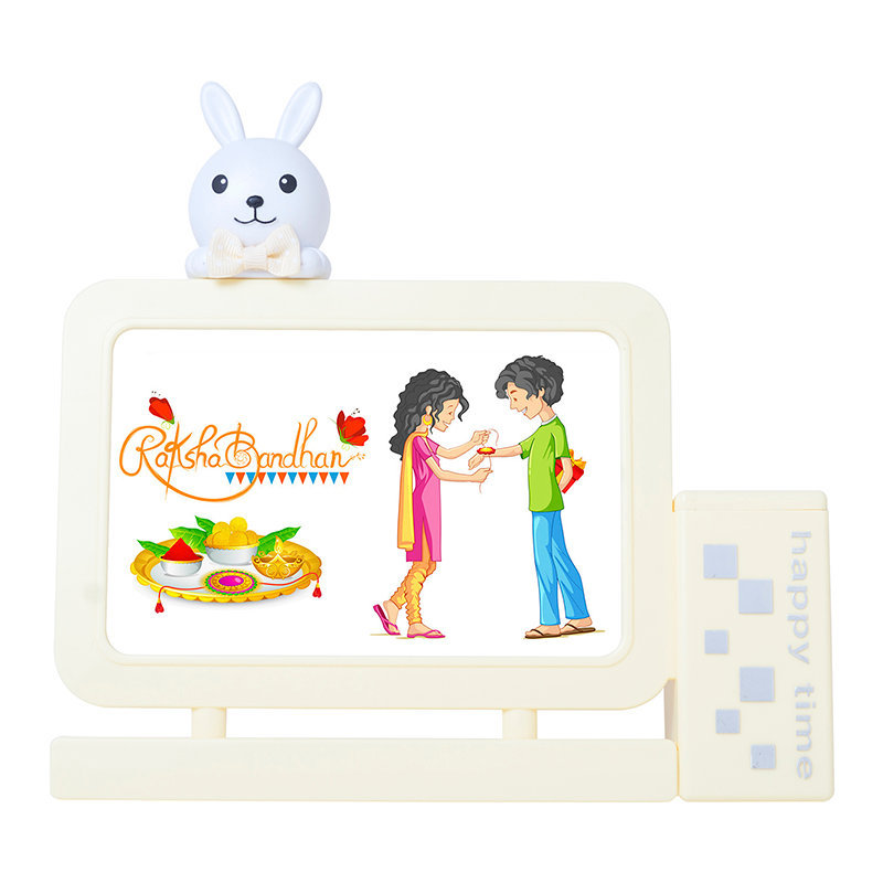 One Designer Rakhie - Yellow Bunny Frame N Rakhi