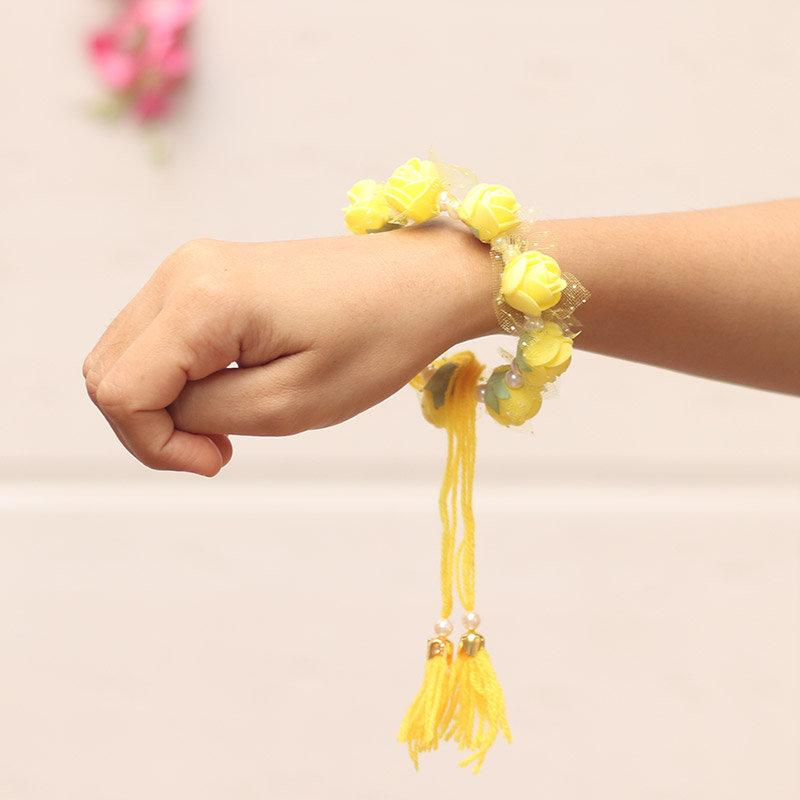 Yellow Floral Rakhi Set for Bhaiya Bhabhi - Online Rakhi Gifts for Bhaiya Bhabhi