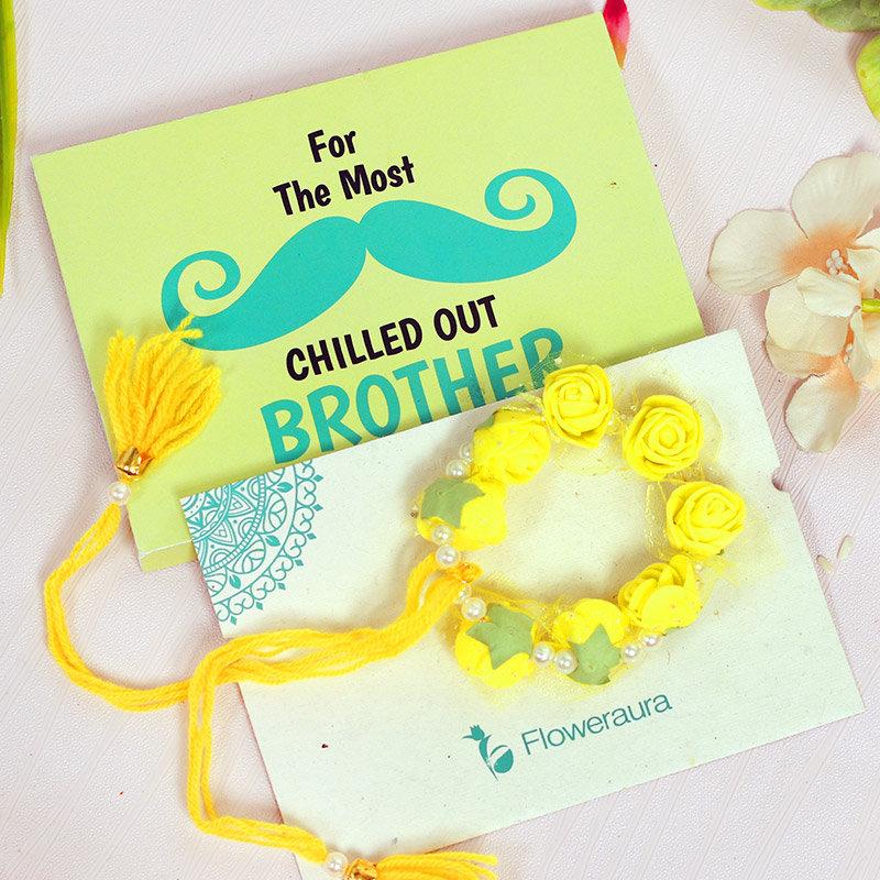 Product in Yellow Floral Rakhi Set for Bhaiya Bhabhi
