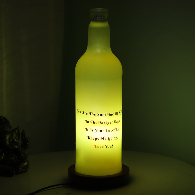 Yellow Personalised Lamp with Closer View