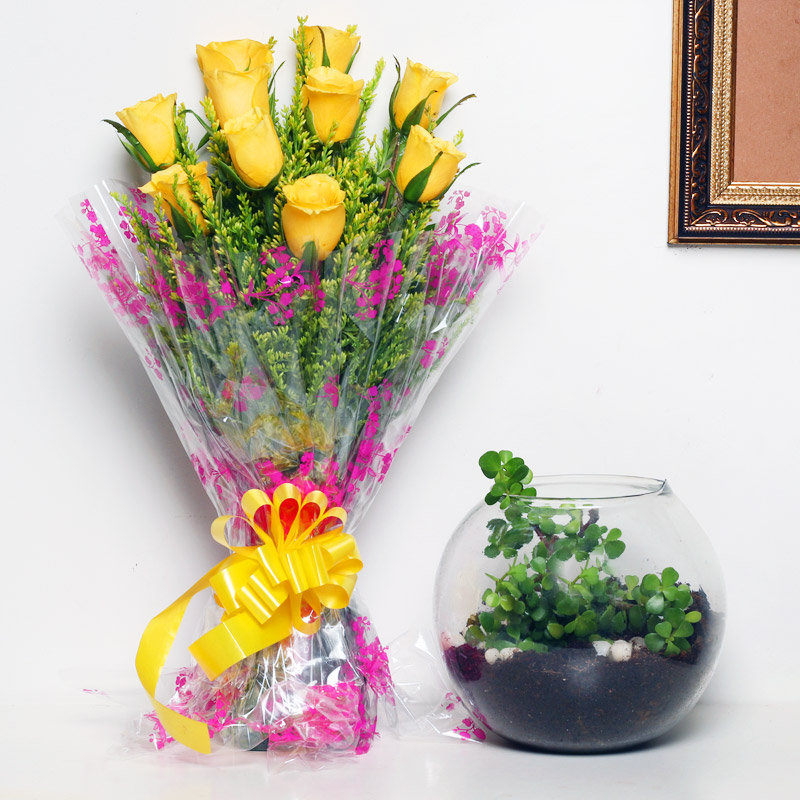 Yellow Luck N Cactus Combo - Succulent and Cactus Plant Outdoors in Gola Vase with Bunch of 10 Yellow Roses